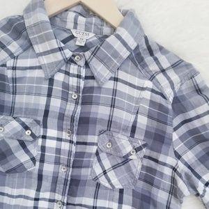 GUESS Grey & White Plaid Button Down Shirt
